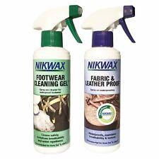 Nikwax Footwear Cleaning Gel Spray & Fabric & Leather Spray Twin Pack 300ml Each