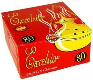 Excelsior Charcoal Discs - For Hookah & Incense sticks - Box 8x10( 80 Discs)