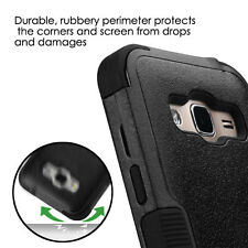 Samsung Galaxy Express Prime - HARD & SOFT HYBRID IMPACT CASE COVER BLACK ARMOR