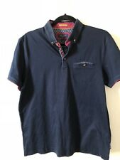 Ted Baker Mens Navy Polo Shirt Size 4 UK L Collar Buttons Contrasting Trim