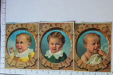 3 ADV. TRADE CARDS PETROLINA PETROLEUM JELLY OLNEY BROTHERS STAMP W/ BABY 1058