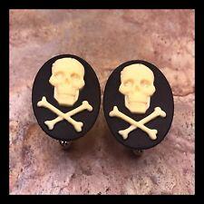 New Cufflinks Cream Black Skull 💀 Crossbones Modern Resin Cameo Silvertone G26