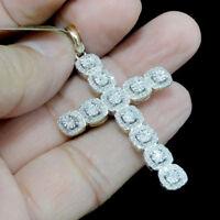 "10KT Yellow Gold Cluster Cross Real Prong set Diamonds Charm Pendant 0.47Ct 1.9"""