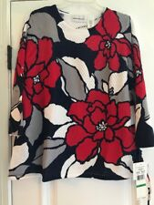 ALFRED DUNNER Uptown Girl Mesh Floral Print Ladies Sweater NWT - Size Large