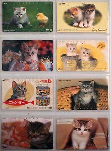 art.000939 -n.8 telephons cards, Gatti, CATS, NTT Japan, Giappone.