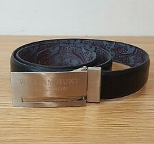 William Hunt Saville Row Men's Black Leather Belt with Silver Buckle W32