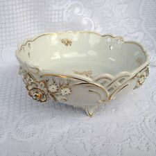 Stunning - Dresden Von Schierholz Gold and White Hand Painted Footed Bowl (402)