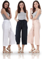 Ladies Cropped Summer Elasticated Crop 3/4 Pants Holiday Linen Trousers