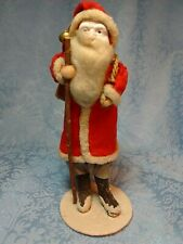 Large Antique Belsnickel Santa Figure Clay face with Toy Sack Twig Cane