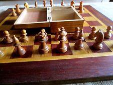 Vintage c1920`s STAUNTON Hand Carved Chess Pieces Set In Original Wooden Box