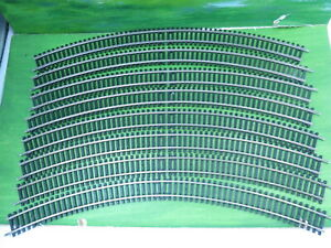 8x Hornby R609 double curve 3rd radius nickel silver track - vgc
