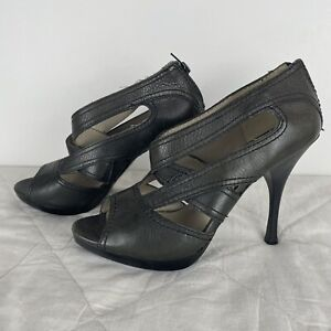 Country Road Olive Green Platform Peep Toe Leather Zip Heels Size 8 S1