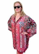 Plus Size Silk Kaftan Top Beach Coverup Paisley Stylish Resort Cruise Wear 90 Cm 192 Red