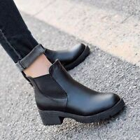 Women Winter Warm Ankle Boots Chunky Block Flat Heel Leather Shoes Slip Pumps