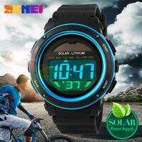 SKMEI Men Outdoor Sports Solar power Watches Waterproof Digital Week Alarm Watch