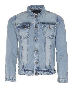 Mens Jacket Denim Trucker Jacket Classic Washed Vintage Style Jeans Coat For Men