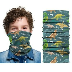 Bandana tubolare sciarpa microfibra traspirante dinosauri bambino scaldacollo