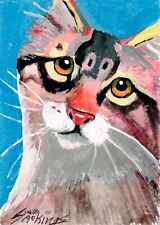 Original Aceo mixed media painting of a cat.