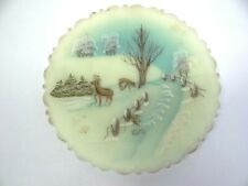 Vintage Dane Fredrick 1979 Frosted White Tail Deer Christmas Hand Painted Plate