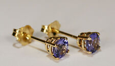 BEENJEWELED ROUND GENUINE NATURAL MINED TANZANITE EARRINGS~14 KT GOLD~4MM