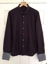 Men's Paul Smith PS Signature Purple Shirt with Floral Double Cuffs Size XL