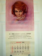 Lou Shabner Pin-up Girl Model Year 1985 Wall Calendar 16'' x 34'' Dayton Ohio