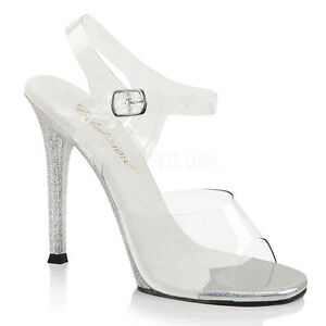 """4"""" Clear Silver Bikini Model Contest Fitness Pageant Official Competition Heels"""