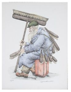 """""""THE BRUSH MAN"""" BY SEYMOUR ROSENTHAL SIGNED HAND COLORED LITHOGRAPH LE 200 CoA"""