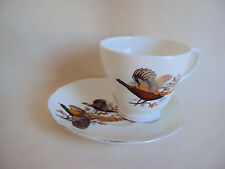 VINTAGE ENGLAND POTTERY BONE CHINA DUCHESS SAUCER & CUP SET PHEASANT FIGURE