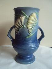 Vintage Original Roseville 123-9 Blue Freesia Vase. Excellent!