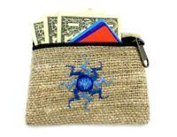 Hemp Coin Purse Blue Sun Natural Bag Pouch Credit Card ID Holder Vegan Wallet