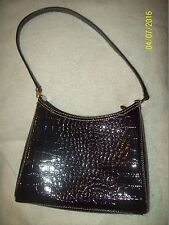 "Ladies LIZ CLAIBORNE 8.5"" Black Faux Snakeskin Small Handbag Purse-Slightly Used"