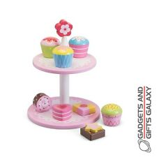 WOODEN FLOWER CAKE STAND & 8 CAKES classic traditional toy gift girls childs