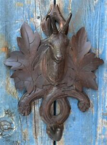 """mall Carved Black Forest Wall Mounted Hat Or Key Holder. 8"""" tall"""