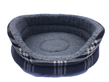 SMALL OVAL DOG BED IN CHARCOAL GREY REMOVABLE THICK FOAM INNER / WASHABLE  23'