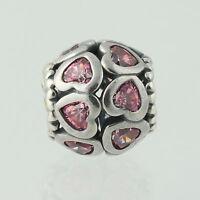 New Pandora Bead Charm Sterling Silver 791250CZS Love All Around Pink CZ Hearts