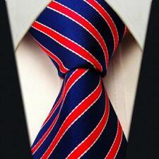 Scott Allan Men's Striped Necktie - Navy Blue and Red