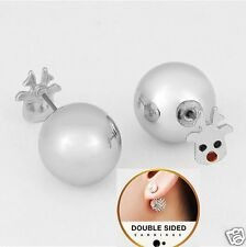 Double Sided Silver Ball Rudolph Reindeer Front 360 Peekaboo Earrings Christmas