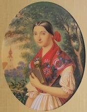 Fine 19th C. Watercolor Painting of Hungarian Woman  HENRIK PECZ  c. 1860