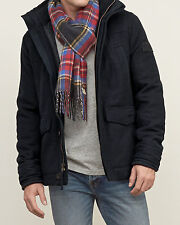 New ABERCROMBIE Mens Quilt lined Wool Jacket Coat Outwear Navy Size XL $220
