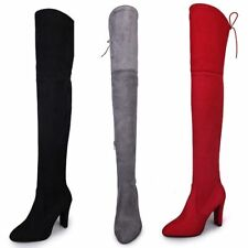2020 Women Club Lace Up High Heels Suede Leather Over The Knee Boots Sexy Shoes
