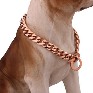 15mm 24inch Strong New Stainless Steel Rose Gold Cuban Chain Link Dog Collar