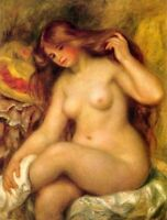 Art Oil painting abstract female Bather with Blonde Hair August Renoir canvas 36