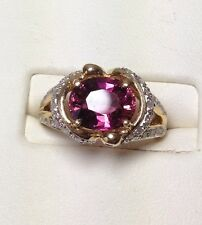 14KYG Ring. Garnet Surrounded by  55+ Diamonds Size 7.75. $2,500 value