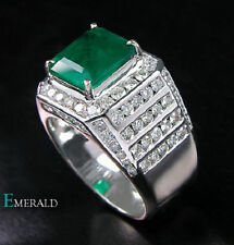 Genuine Natural Green Emerald Engagement Diamonds Mens Ring Solid 18K White Gold