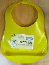 Beautiful Beginnings Brand New Bib Hygenic Essuyer Food Catcher Nettoyer bébé jaune