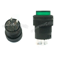 5 3A 250V AC SPST On/Off Self-locking 16mm Push Button Switch Green Light 503AD