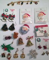 Vintage 60's To 90's Christmas Mix Lot of Bear Santa Tree Jewelry 18 Pieces