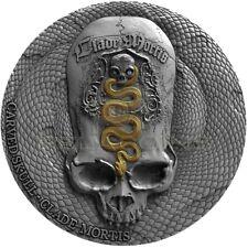 Cameroon 2018 1000 Francs Carved Skull III Clade Mortis Bones 1oz Silver Coin