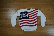 Rare Vintage USA Wear American Flag Knit Patriotic Knit Sweater Size Large